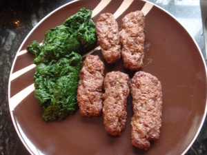 Home made venison sausages