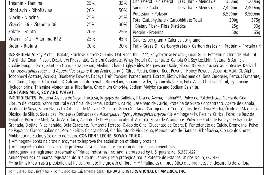 Herbalife Cookies And Cream Shake Nutrition Facts Besto Blog