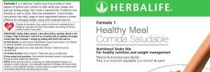 Herbalife Formula 1 Dutch Choc label
