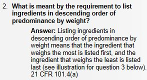 Ingredients List reading - order by weight