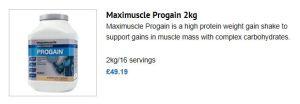 Maximuscle Progain product