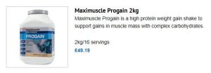 Maximuscle Progain product