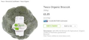 Organic broccoli Tesco