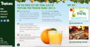 Tropicana marketing bullshit own site